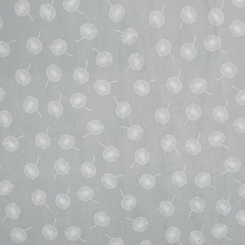 Voile de coton bleu gris motif pissenlit