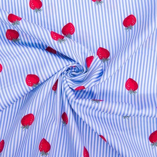 Popeline de coton rayée blanche et bleu ciel motif fraise