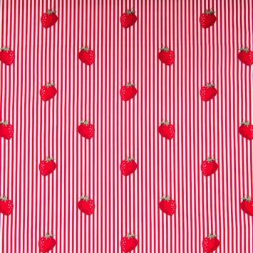 Popeline de coton rayée blanche et rouge motif fraise