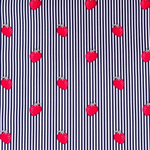 Popeline de coton rayée blanche et bleu nuit motif fraise