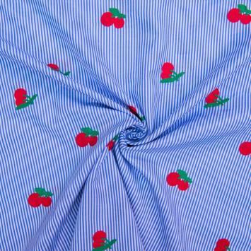 Tissu à rayures bleues broderies cerises