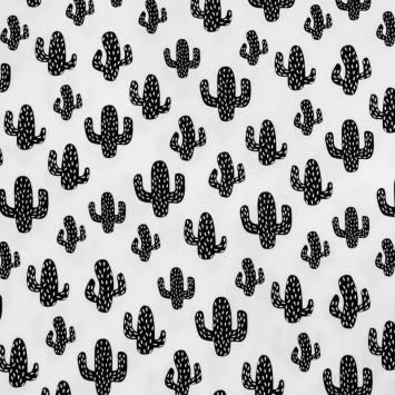 Tissu molleton french terry blanc cactus