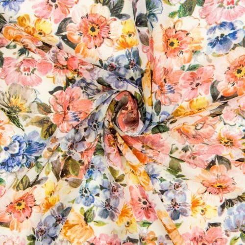 Voile mousseline écru imprimé fleurs peintes