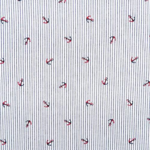 Coton blanc à rayures bleues motif ancre