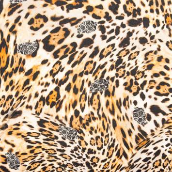 Voile mousseline imprimé léopard et fleurs
