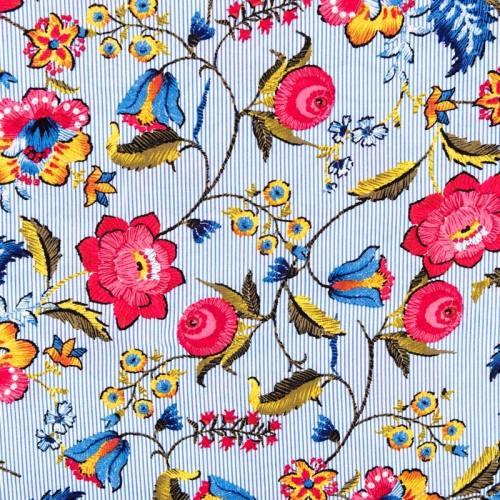 Tissu viscose rayé motif fleur
