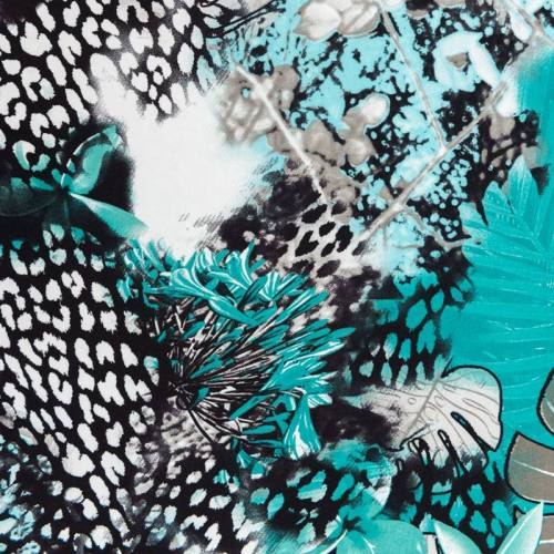 Jersey viscose vert motif flore tropicale
