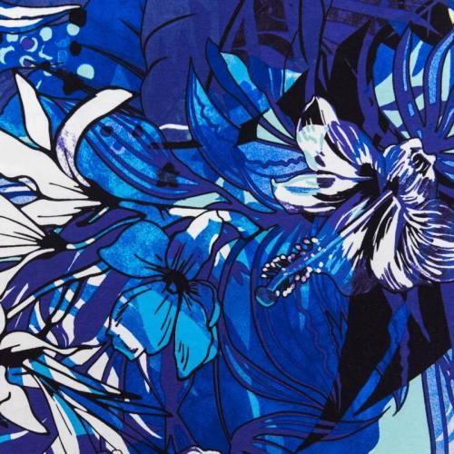 Jersey viscose bleu motif fleurs exotiques