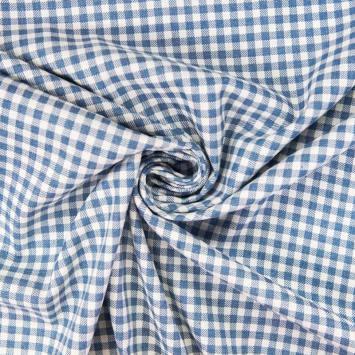 Tissu jean clair motif petit carreau