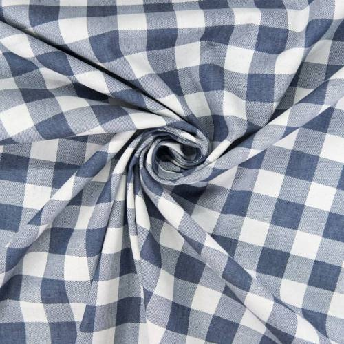 Tissu jean motif grand carreau
