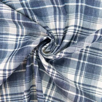 Tissu jean motif carreau écossais