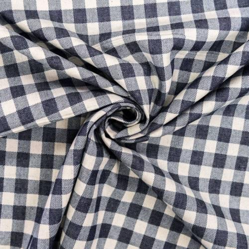 Tissu jean foncé motif moyen carreau