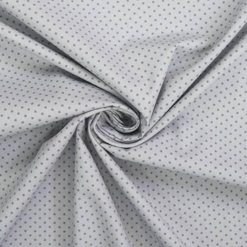 Popeline de coton grise imprimée pois
