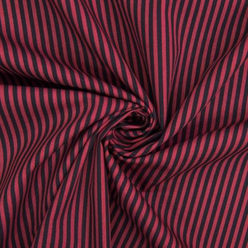 Popeline de coton imprimée rayures rouges