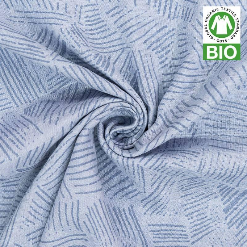 coton bio pour lange b b bleu motif hachures. Black Bedroom Furniture Sets. Home Design Ideas