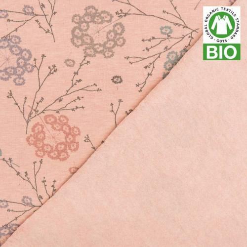Jersey molleton bio rose imprimé floral