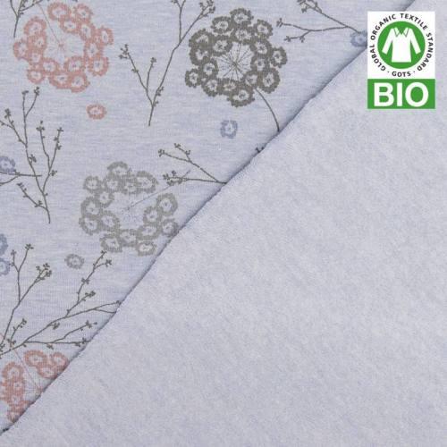 Jersey molleton bio bleu imprimé floral