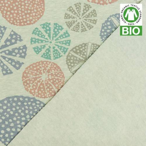 Jersey bio vert imprimé cercles ajourés