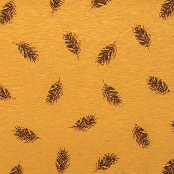 Jersey ocre chiné imprimé fine feuille