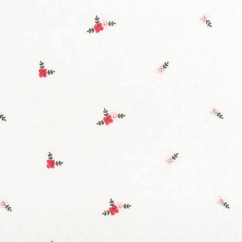 Voilage plumetis blanc broderies petites fleurs
