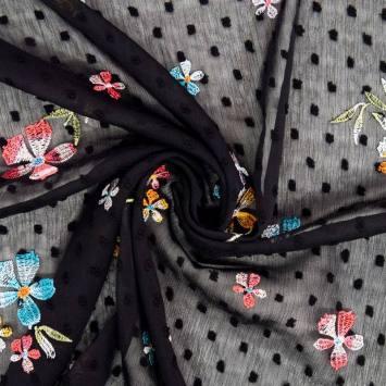 Voile plumetis noir broderies fleurs des champs