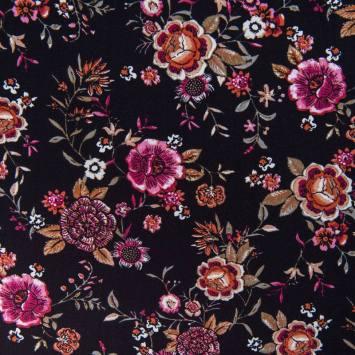 Tissu viscose noir imprimé fleurs
