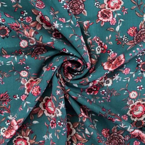 Tissu viscose bleu pétrole imprimé fleurs