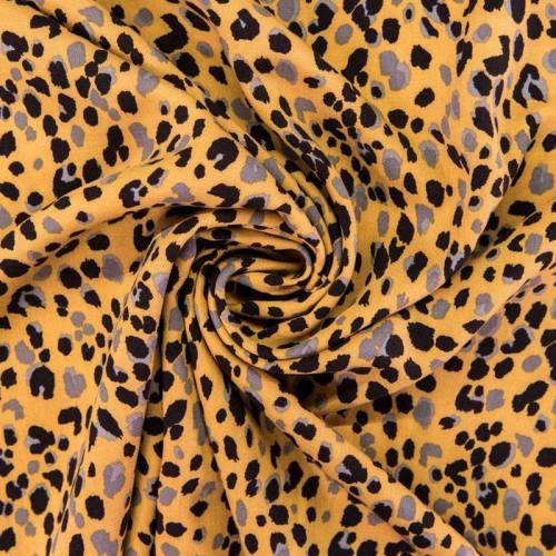 Tissu viscose ocre imprimé léopard