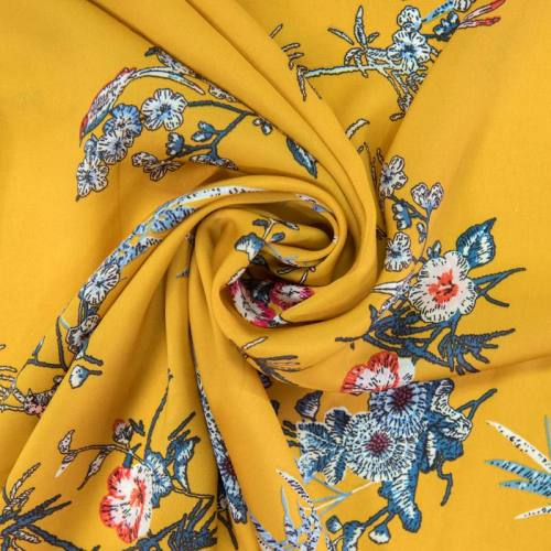 Satin ocre motif fleurs