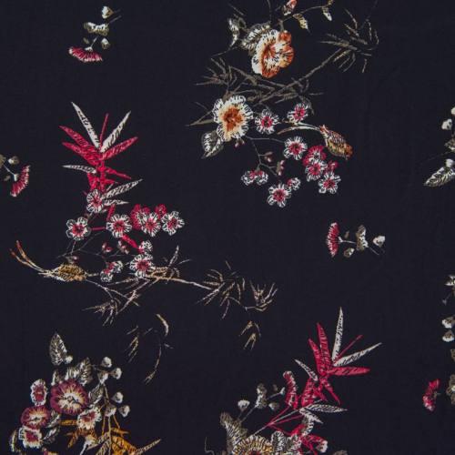Satin noir motif fleurs