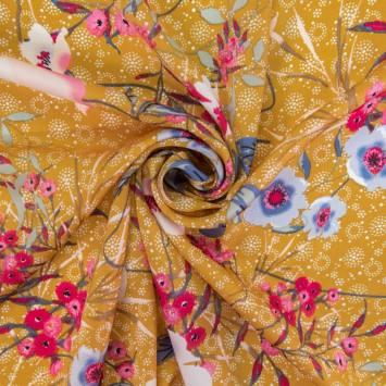 Satin ocre motif fleurs champêtres