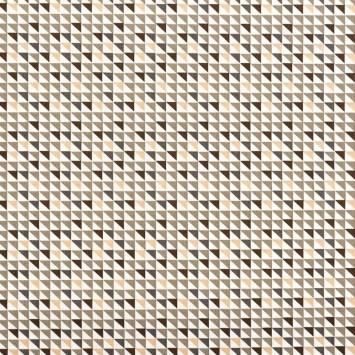 Popeline de coton blanche motif triangle gris et sable