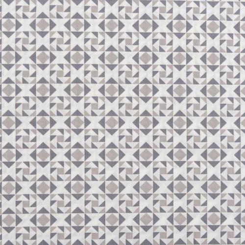 Popeline de coton blanche motif triangle et losange gris