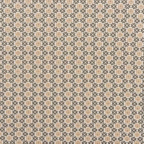 Popeline de coton blanche motif fleur géométrique sable