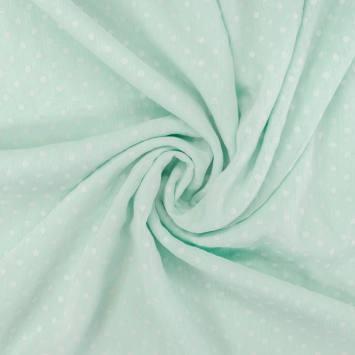 Voile vert menthe à pois de velours