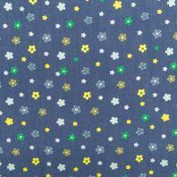 Tissu jean motif fleur jaune et verte