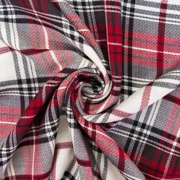 Tissu viscose imprimé carreau rouge