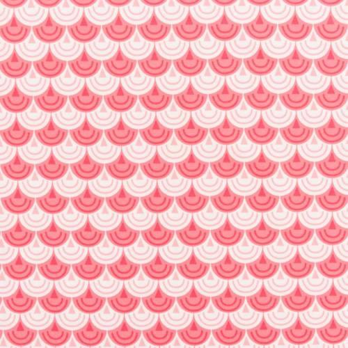 Jersey blanc motif écailles roses et blanches