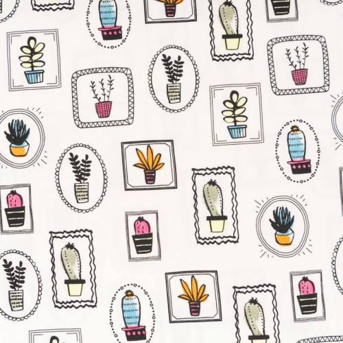 Jersey blanc motif cactus et aloe vera