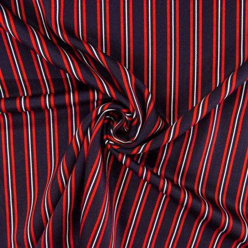 Tissu rayonne bleu marine rayures rouges et écrues
