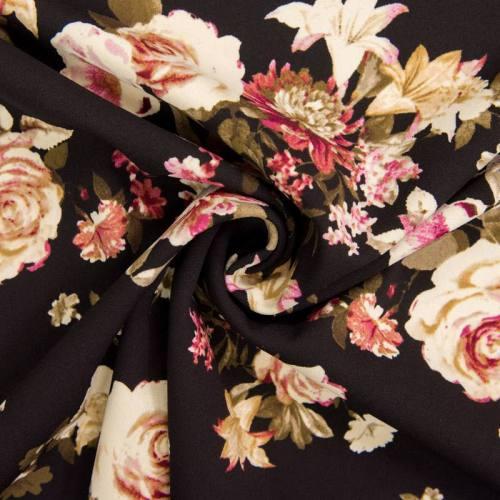 Tissu scuba crêpe noir imprimé fleur bohème