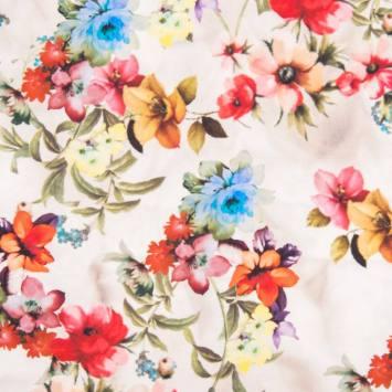 Tissu scuba crêpe impression digitale motif fleurs des champs