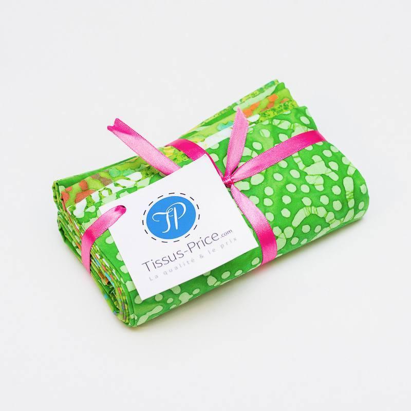 Lot de 5 coupons 44X54cm vert motif batik