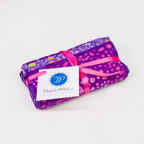 Lot de 5 coupons violet motif batik