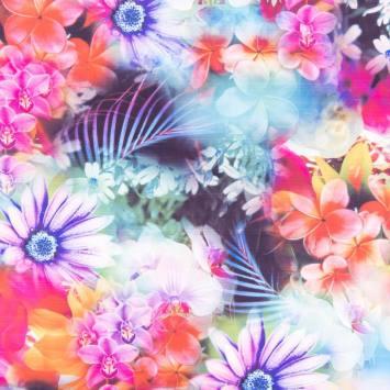 Lycra extensible motif fleurs colorées