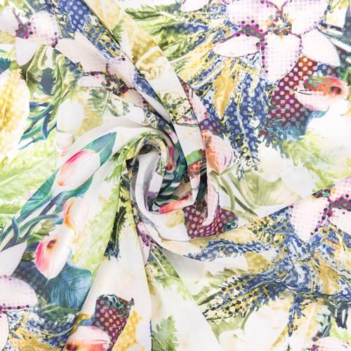 Mousseline motif fleurs impression digitale