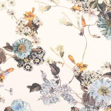 Mousseline ivoire motif fleurs bleues des champs