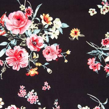 Satin de coton noir imprimé fleur rose