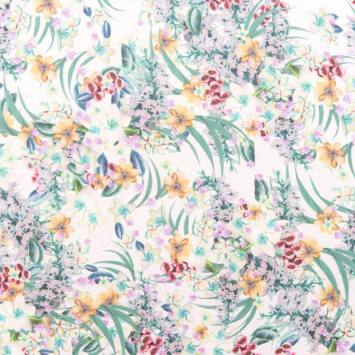 Mousseline motif fleurs nuances de lilas
