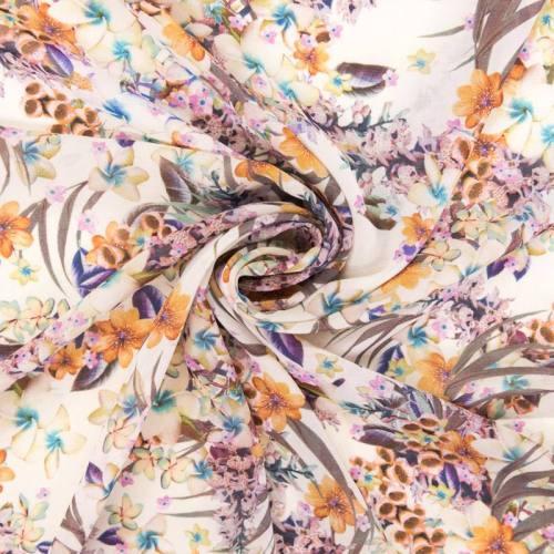 Mousseline motif fleurs nuances de jaune